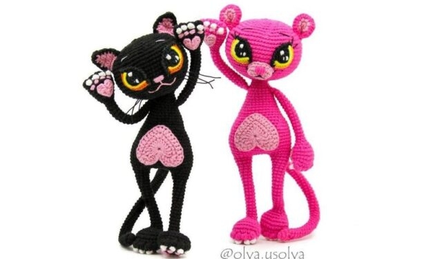 Crochet a Pink Panther and Lucienne Cat Amigurumi, Designed By Olya Usolya Amigurumi