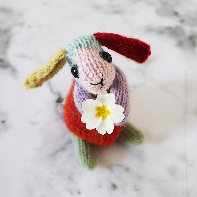 Free Pattern Alert: Knit a Beginner's Rainbow Rabbit, Designed By Claire Garland