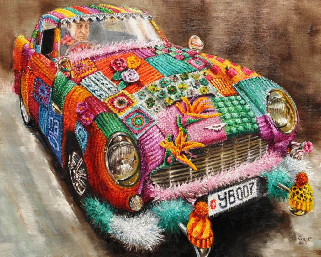 More Painted Tributes to Knit & Crochet Yarn Bombing by Vera Cauwenbergh