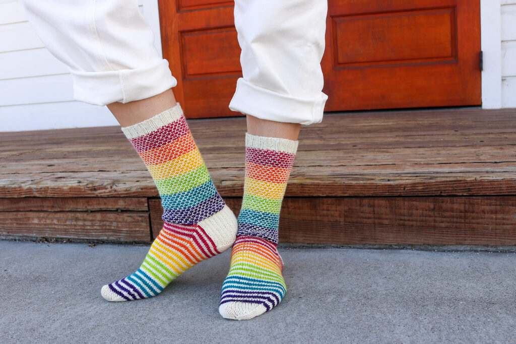 Knit a Pair of Colorful, Rainbow-Infused 'Love Wins' Socks!