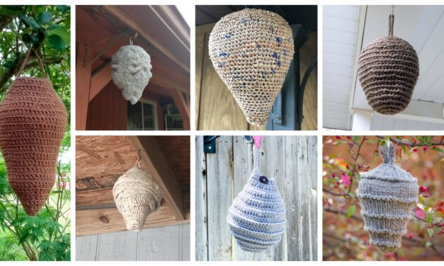 14+ Faux Wasp & Hornet Nest Decoy Patterns For Crocheters, Plus One For Knitters Too