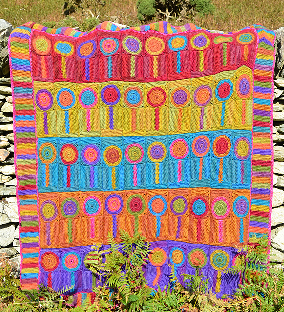 Crochet a Colorful Lollipops Trees Blanket Designed By Amanda Perkins, Inspired By Her Kids' Art!