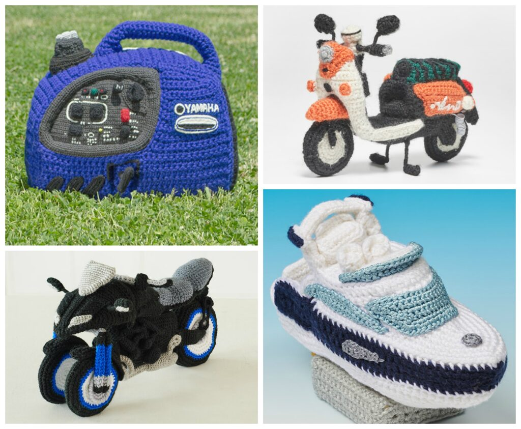 Yamaha's Collection of Free Amigurumi Patterns and Tutorials - Crochet a Detailed Yacht, Motorcycle, Generator or Electric Scooter