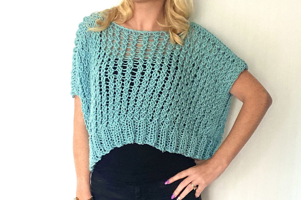 Knit a Lacy, Over-sized, Cropped Sweater For Summertime – Quick And Easy To Make!