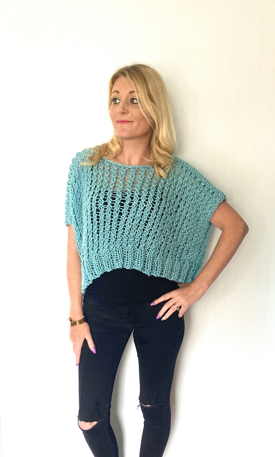 Knit a Lacy, Over-sized, Cropped Sweater For Summertime - Quick And Easy To Make!