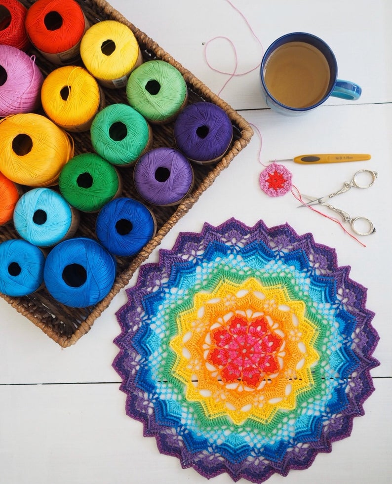 Crochet Mandala patterns by Renata Saj of SunshineNL #crochet #mandala