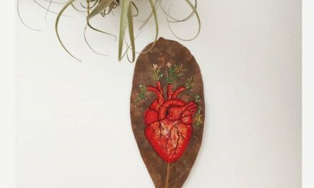 Anatomical Heart Embroidered On A Leaf … So Delicate.