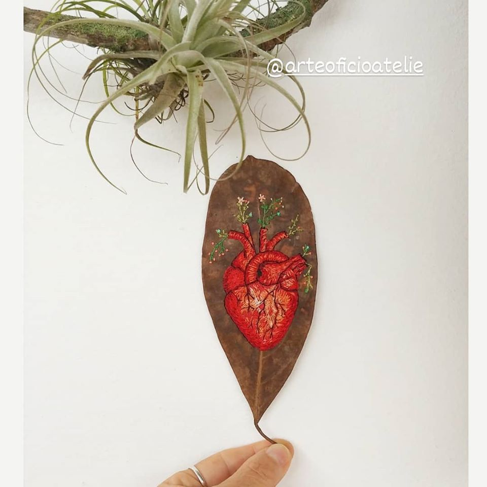 Anatomical Heart Embroidered On A Leaf ... So Delicate.