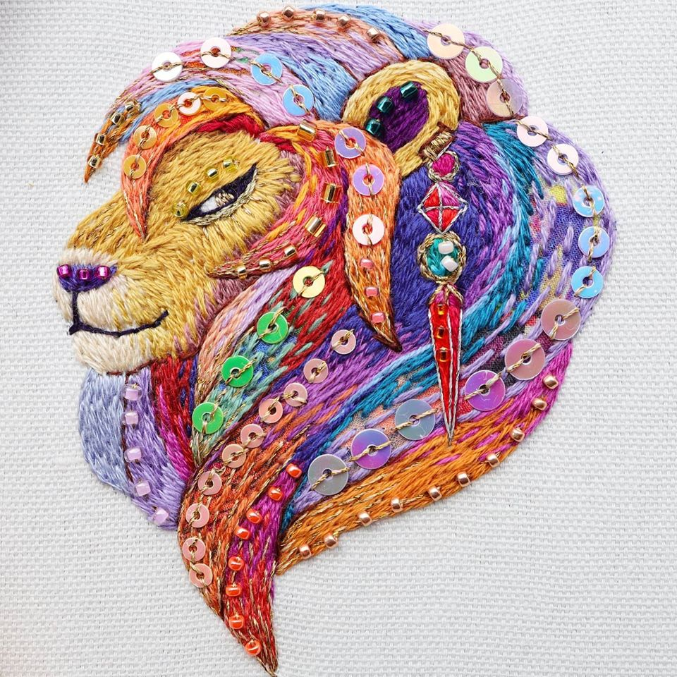 Kimika Hara's Colorful Leo The Lion Embroidery