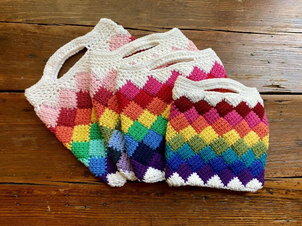 Crochet This Fun Entrelac Tote In Rainbow Colors ... So Fun!