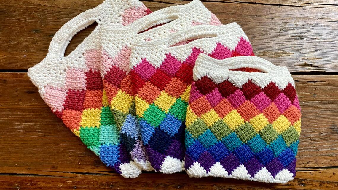Crochet This Fun Entrelac Tote In Rainbow Colors … So Fun!