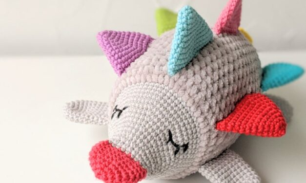 Crochet a Colorful Hedgehog Sensory Toy Designed By Olive's Toy Box