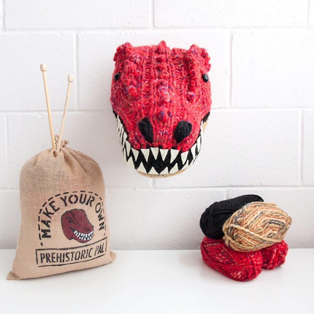 Knit a T-Rex Trophy Head ... Dinosaur Fauxidermy Is Always Great Gift Idea!