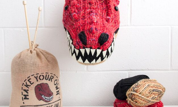 Knit a T-Rex Trophy Head … Dinosaur Fauxidermy Is Always Great Gift Idea!