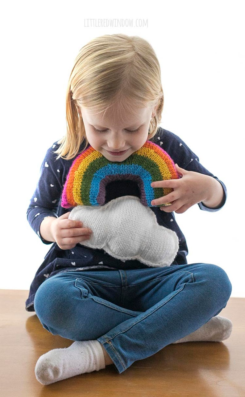 Cute Cloud & Rainbow Pillow Patterns To Knit, Makes a Great Gift!