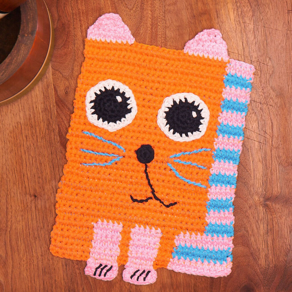 Everyday Can Be Caturday When You Crochet This Colorful Kitty Dishcloth - Free Pattern!