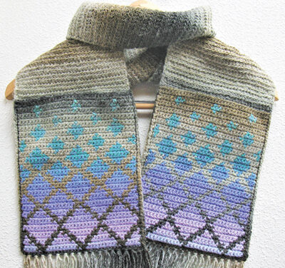 Crochet a Falling Diamonds Pocket Scarf Designed By Lisa McDonald – So Unique!