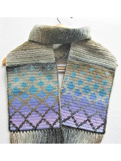 Crochet a Falling Diamonds Pocket Scarf Designed By Lisa McDonald – So Unique!
