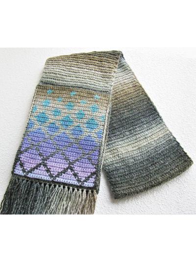 Crochet a Falling Diamonds Pocket Scarf Designed By Lisa McDonald - So Unique!