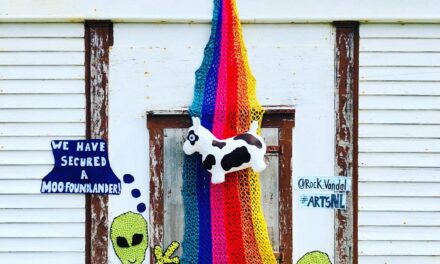We Have Secured a 'Moofoundlander' … Big Fun Yarn Bomb By Nina Elliott aka Rock Vandal