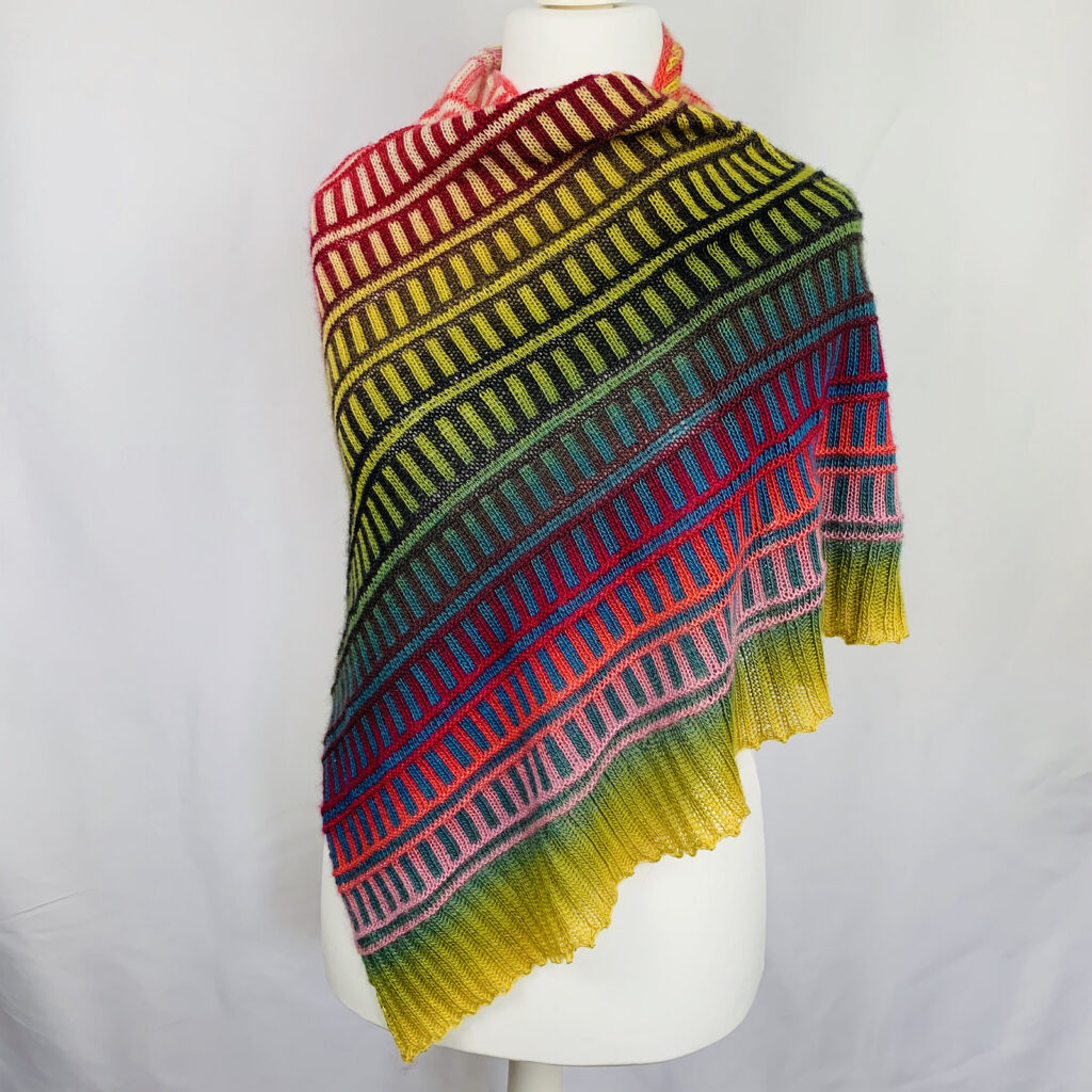 Knit a Yummy Railway Shawl, So Colorful and SMART!