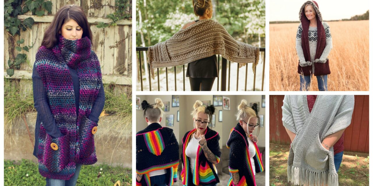 Designer Spotlight: The Best Knit & Crochet Pocket Shawl Patterns