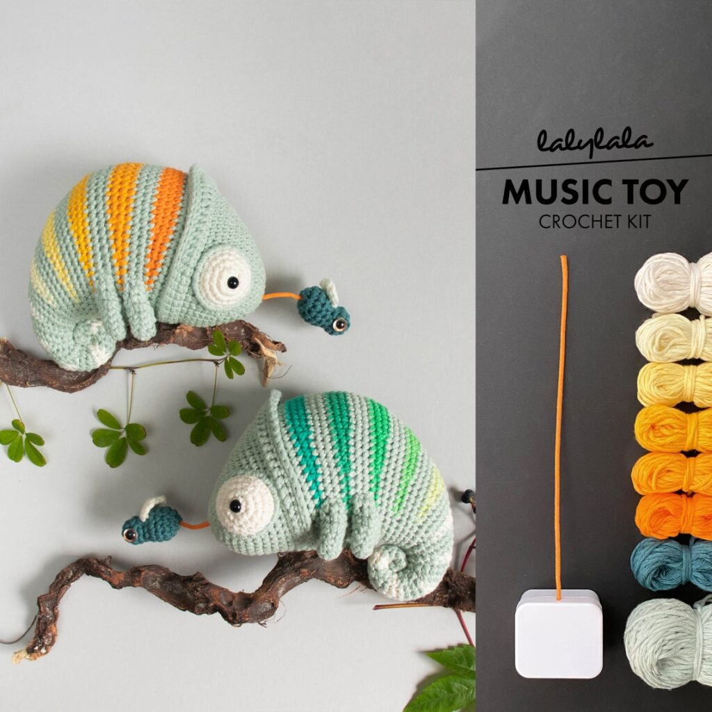 Crochet a Conrad The Chameleon - It's a Music Box Too! Designed By lalylala Crochet