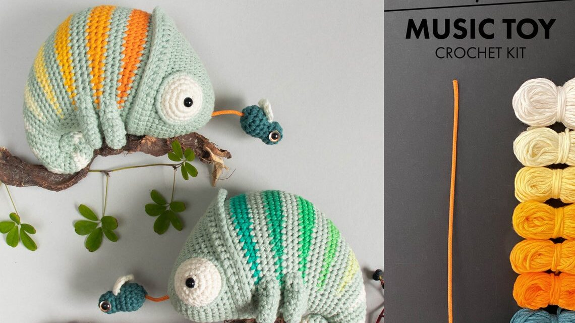 Crochet a Conrad The Chameleon – It's a Music Box Too! Designed By Lalylala Crochet