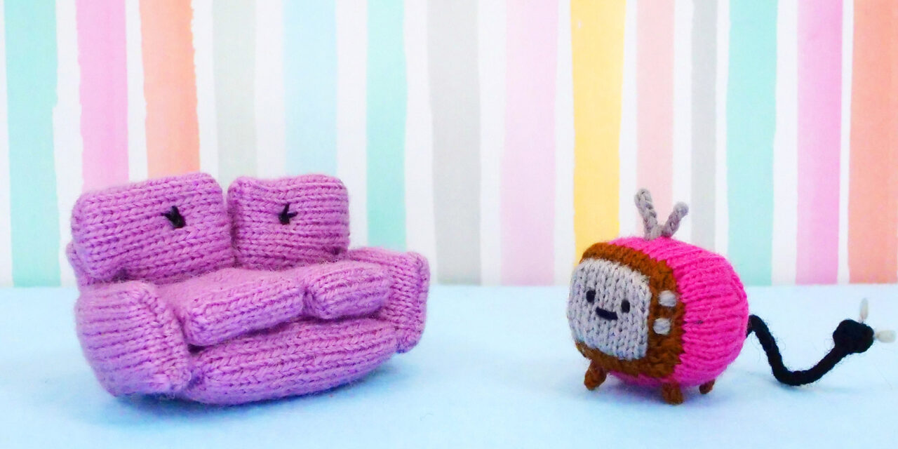 Knit a Sophie The Loveseat and Her Friend Chanel The TV, Cute Amigurumi Patterns By Anna Hrachovec