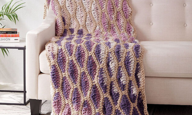 It's The Right Time To Crochet a Dancing Diamonds Blanket By Yarnspirations Design Studio