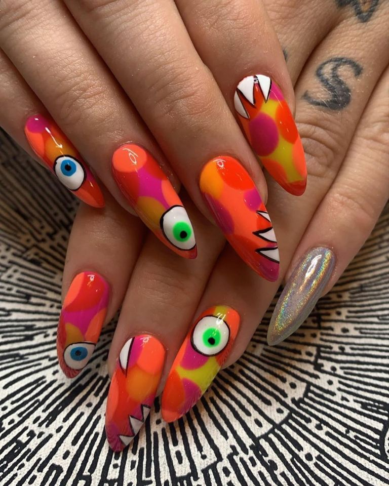 Colorful & Creative Nail Art Based a Ladies Fancywork Society Yarn Bomb ... Wow!