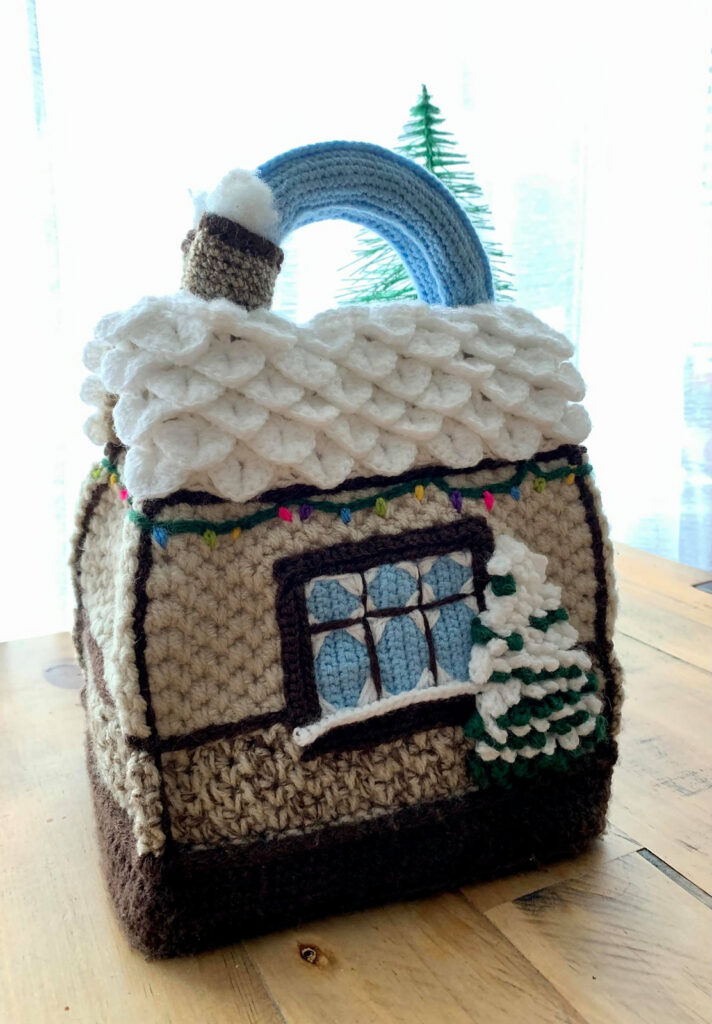 Crochet a 'Cosy Christmas Cottage' Handbag Designed By Claudia King