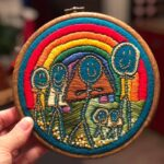 Kid's Stick Drawing Turned Into Embroidered Family Portrait