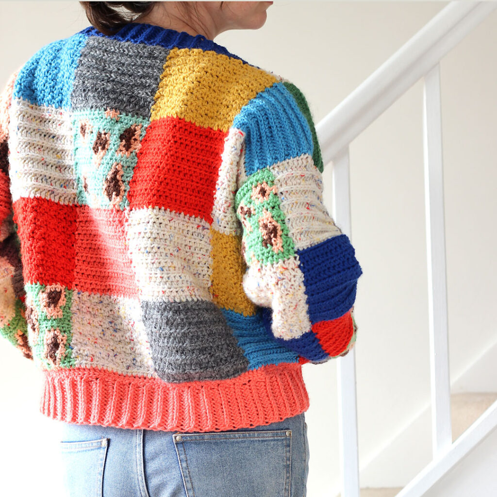 Crochet This Fresh Take On the Harry Styles' Colour Block Patchwork Cardigan With This Free Pattern From Zeens and Roger!