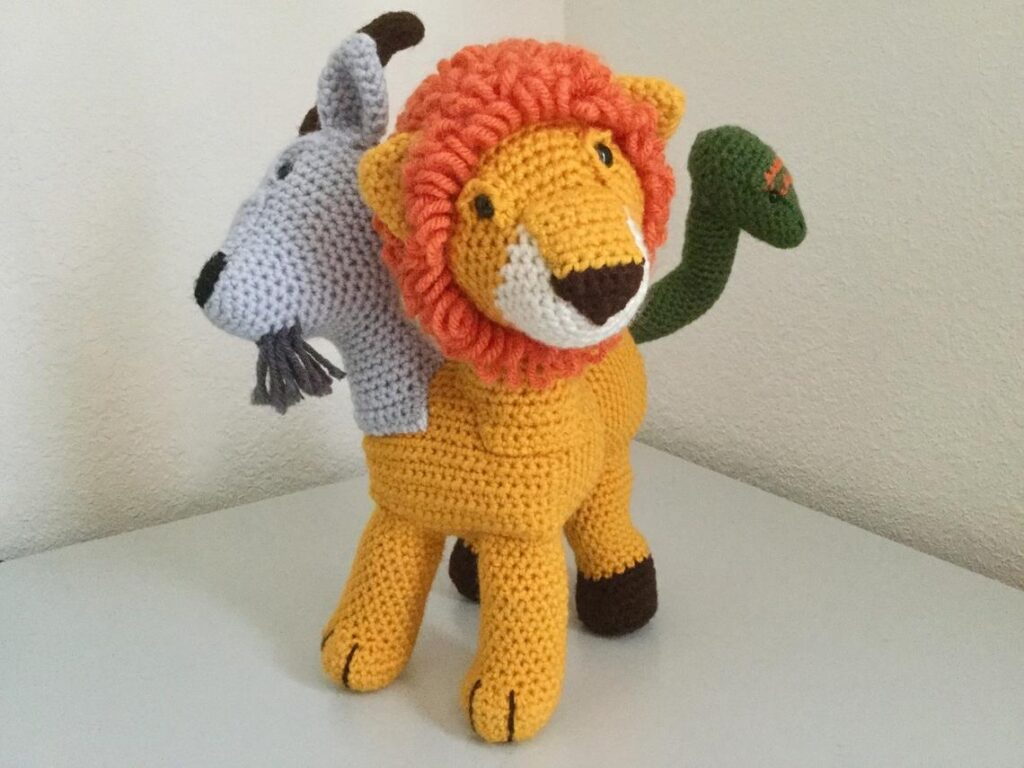 Crochet a Chimera Amigurumi ... This Mythological Creature Consists of a Goat Head, a Lion Head and a Snake Tail