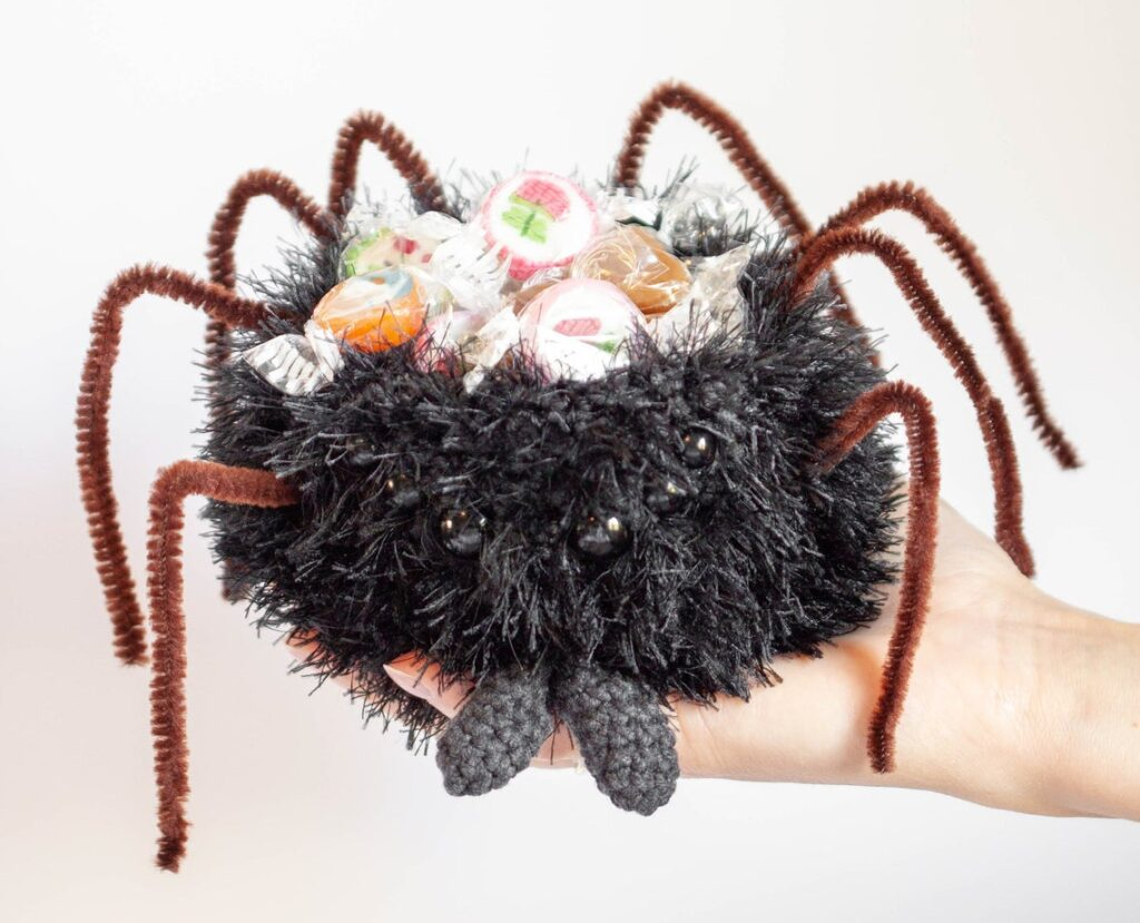 This Crochet Spider Amigurumi Moonlights As A Clever Little Candy Bowl - SMART!