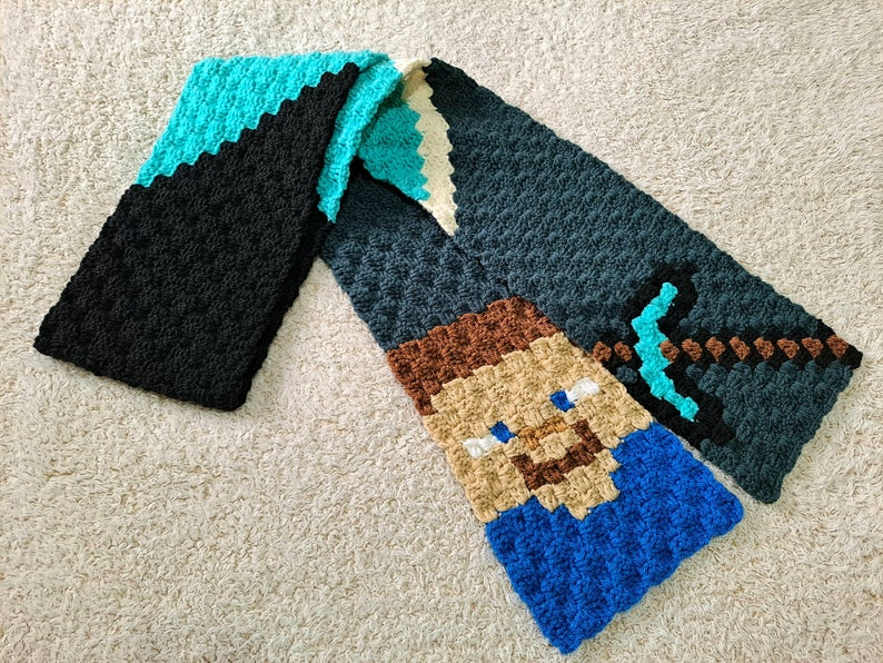 Don't Fear the Creeper, Crochet a Minecraft C2C Scarf For a Gamer You Love …