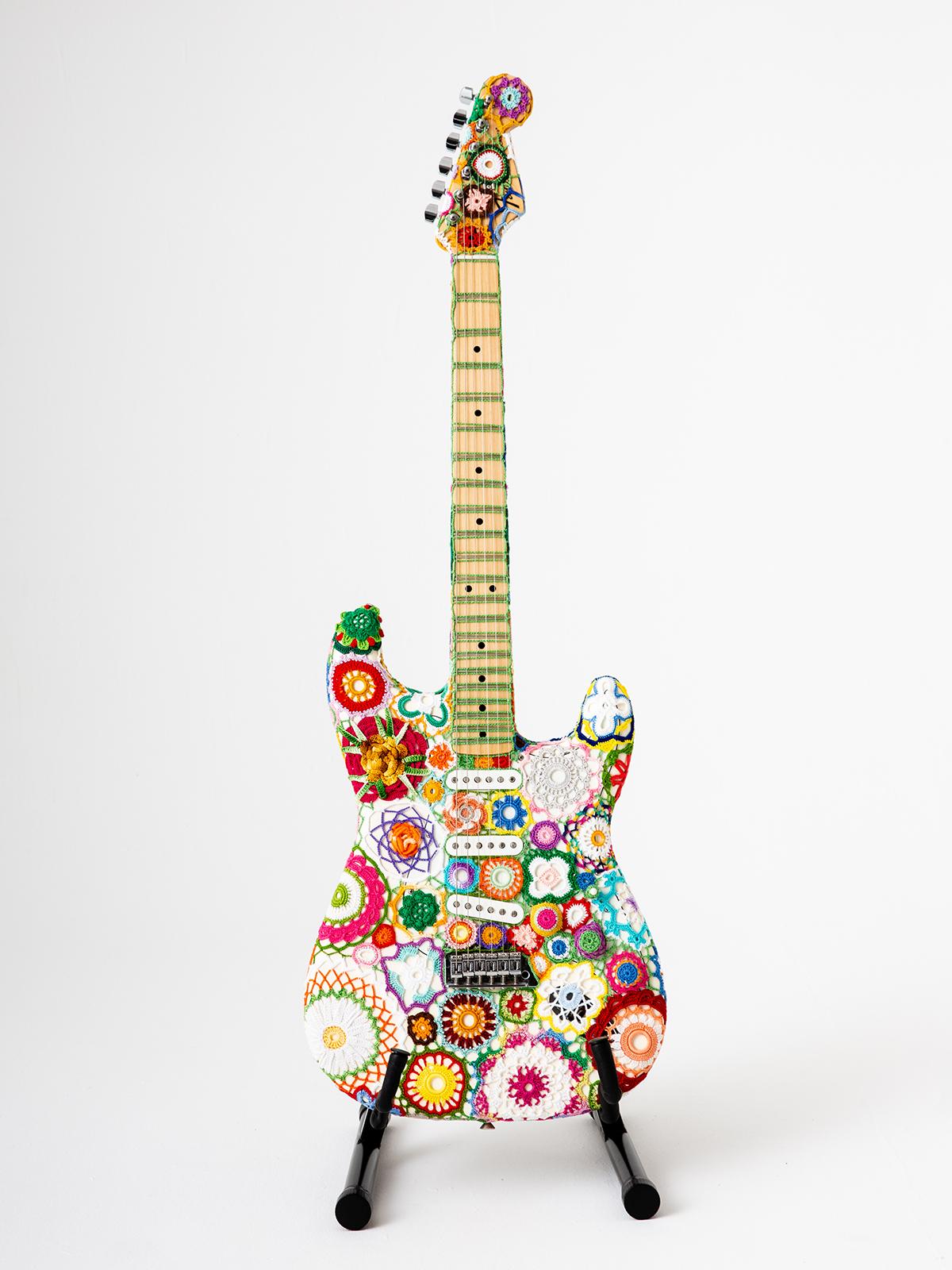 Meet 'Flower Power' ... A Fender Stratocaster Covered In Crochet By The Legendary Fiber Artist Joana Vasconcelos