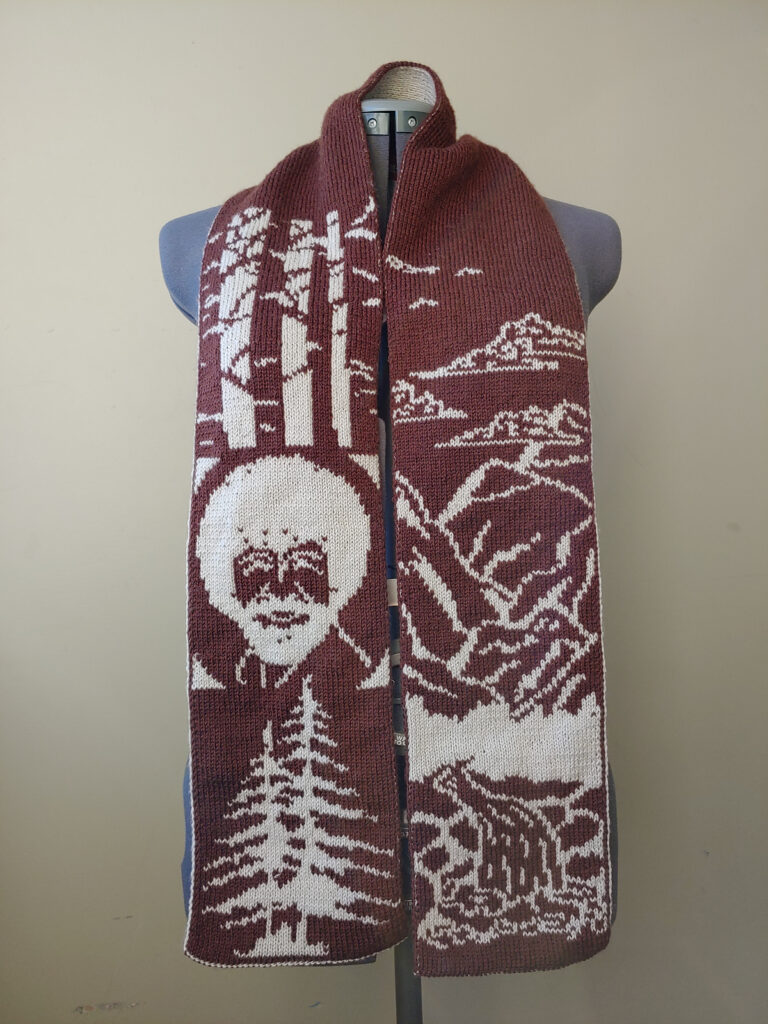 Knit A Happy Little Scarf Featuring Bob Ross, Double-Knit Design By Tess Campbell