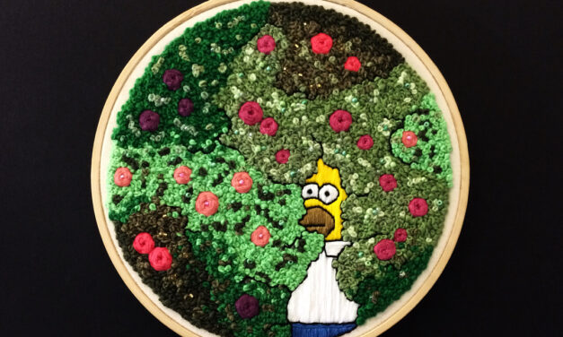 'Homer In The Bushes' Embroidery By Gemma Bell aka Crafty.Stitch