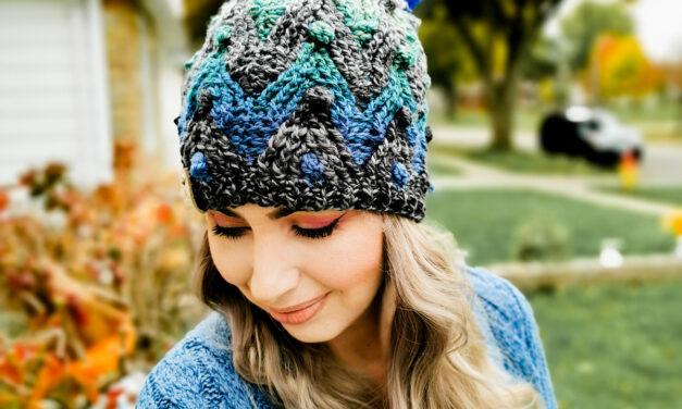 Crochet a Glicka Beanie, Designed By Lee Sartori, Features a Fun Chevron Stitch Pattern With Popular Popcorn Stitches