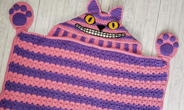 It's the Right Time To Crochet a 2-in-1 Hooded Cheshire Cat Blanket … That Mischievous Grin!