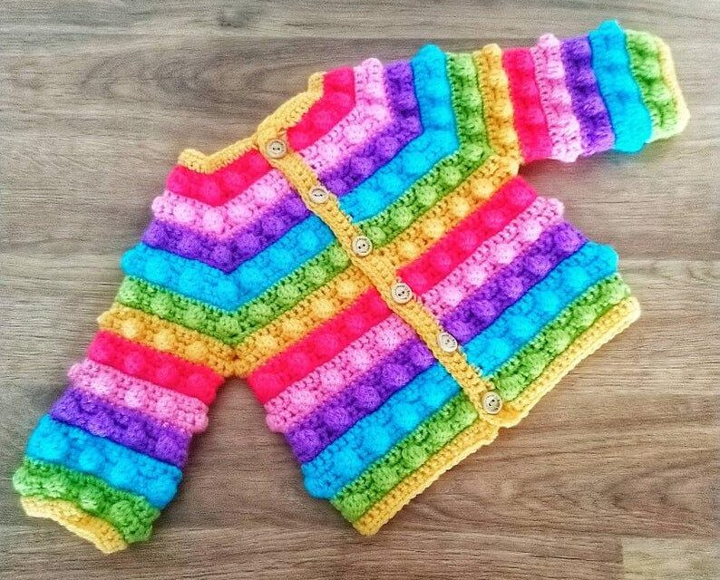 Crochet An Impossibly Cute and Rainbowlicious Winter Bobble Cardigan … Even Make It A Hoodie!