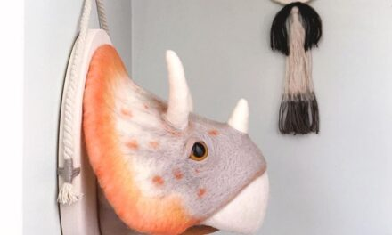 Meagan Alessio Felted a Triceratops Trophy Head … This Fauxidermy is Fabulous
