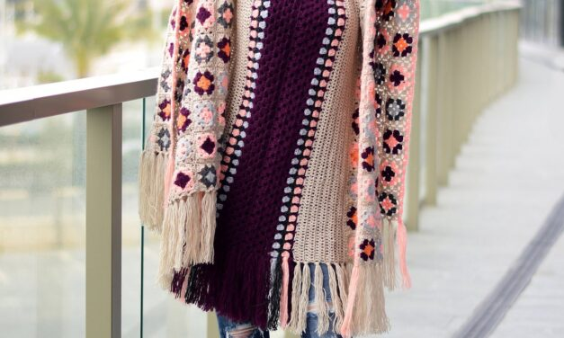 Sophisticated Granny Square Wrap To Wear Anywhere, Anytime … Dress It Up Or Dress It Down!