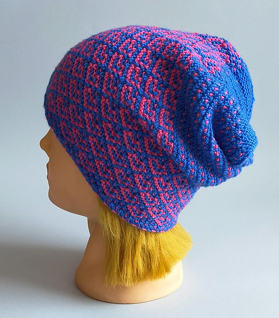Knit a Mirror Hearts Hat Designed By Renata Witkowska