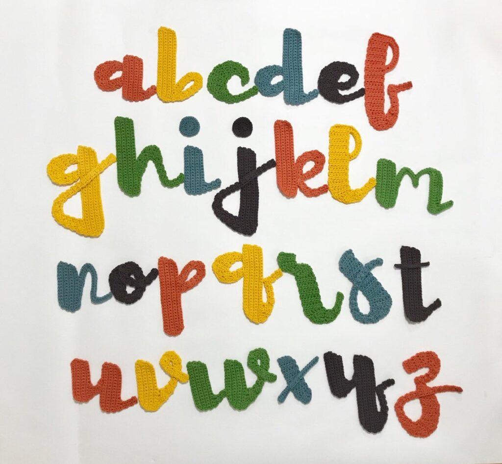 Cursive Alphabet Appliqué Sets For Crocheters, Lower & Upper Case Lettering!