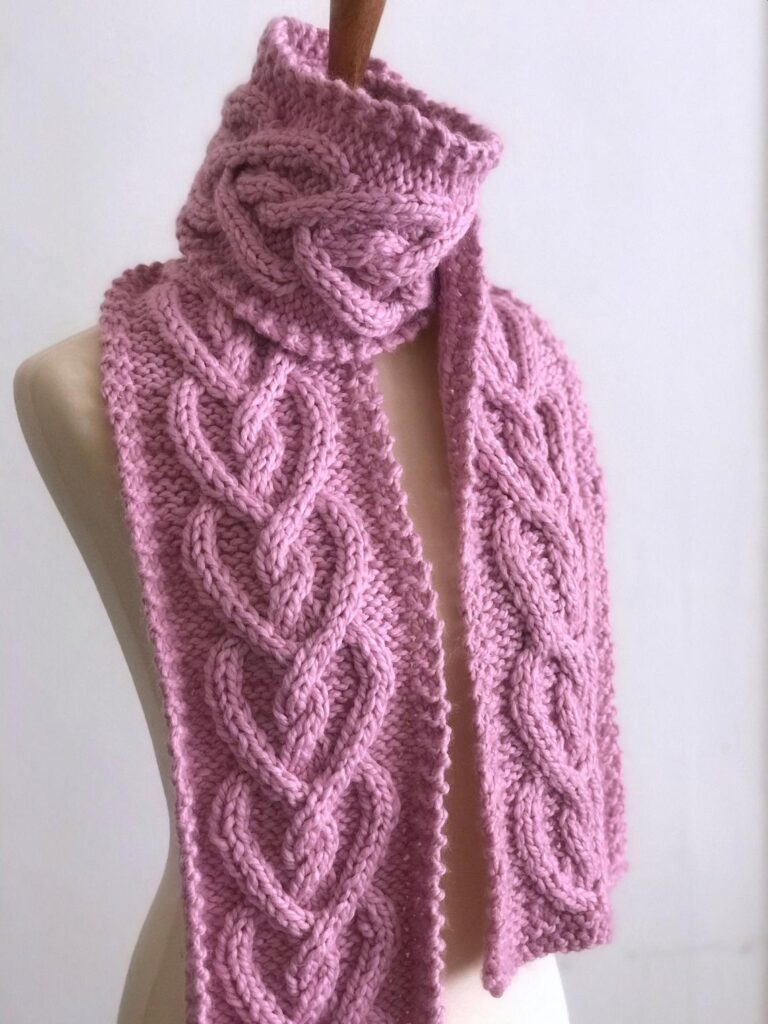 Knit a Popular Heart Cable Scarf and Learn a New Technique!