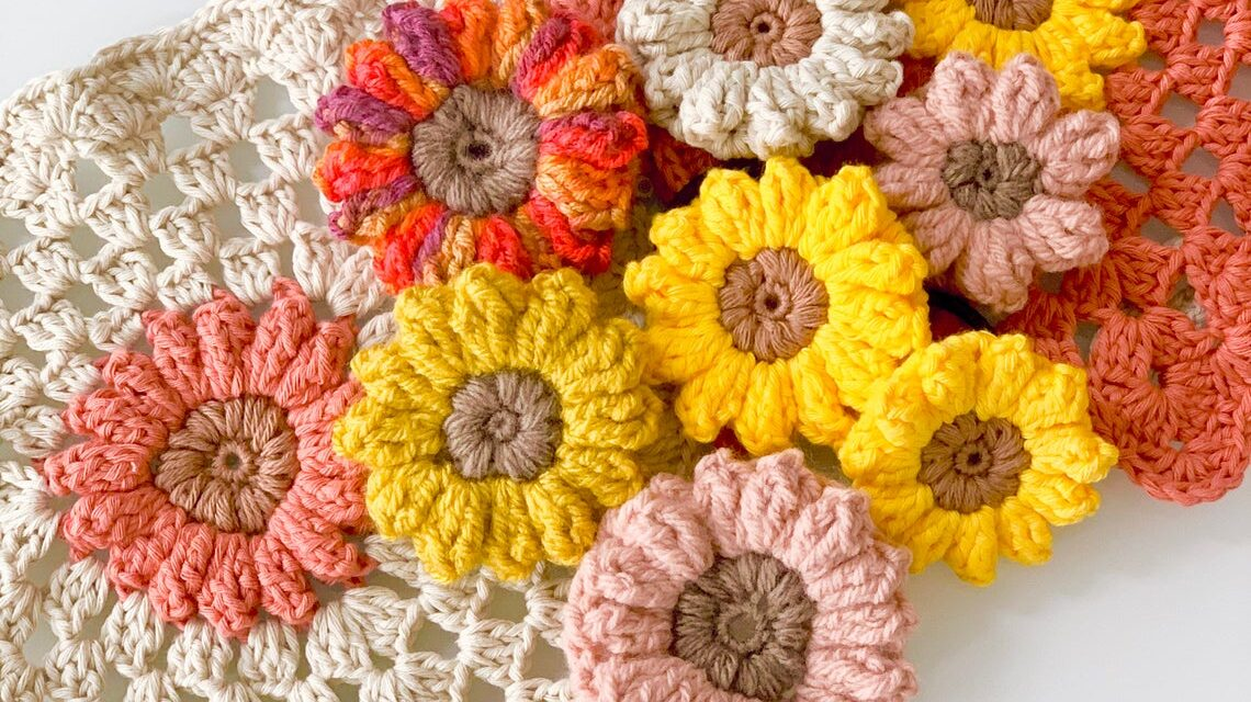Sunflower Power! This Cute Crochet Appliqué Is Great For Hair Clips, Keychains and More …