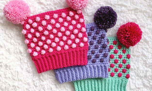 Crochet a Cute Bitsy Bobbled Toboggan Hat … It's Got TWO Pom-Poms!